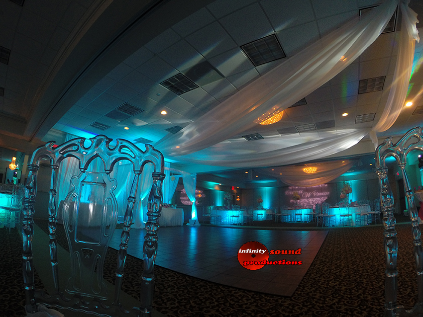 Wedding Decor, Ceiling Draping , Up Lighting